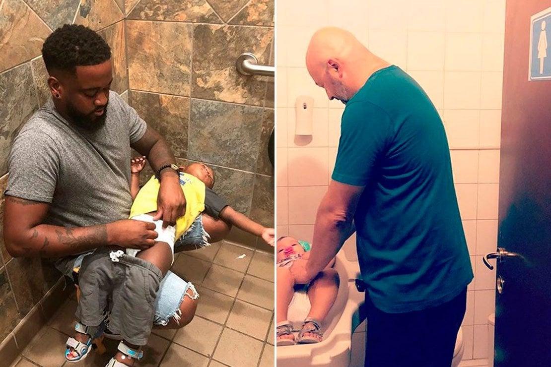 A sinistra Donte Palmer impegnato in uno squat per cambiare il pannolino al figlio. A destra invece un papà italiano costretto a prendersi cura del suo bambino in un bagno femminile