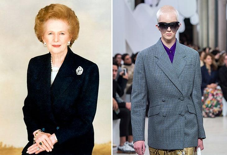 A sinistra Margareth Thatcher. A destra la sfilata di Miu Miu Primavera Estate 2019.