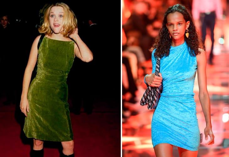 A sinistra Reese Witherspoon negli anni Novanta. A destra, la sfilata di Balenciaga Primavera Estate 2019