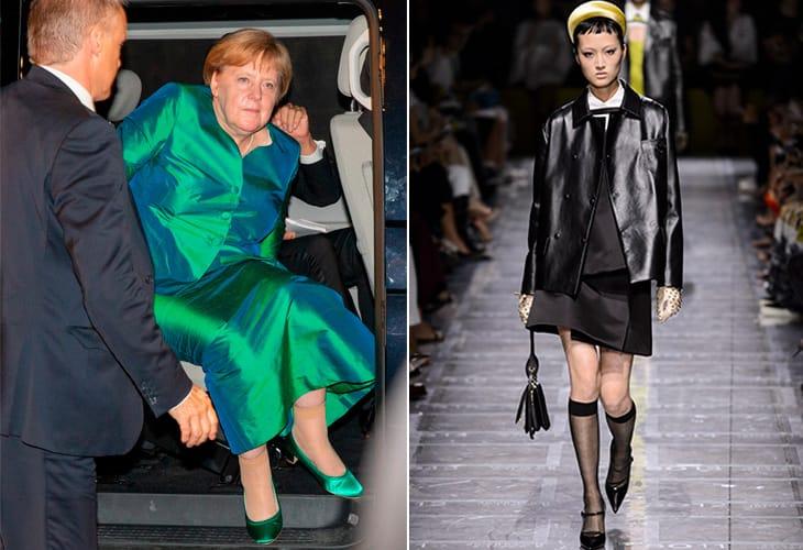 A sinistra Angela Merkel scende dall'auto e sotto l'abito da sera mostra i gambaletti color carne. A destra sfilata Prada