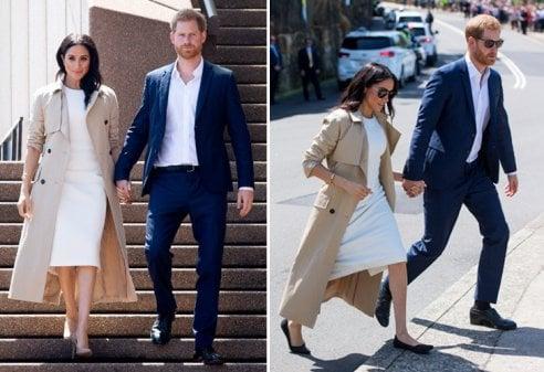 Australia: Meghan Markle in tubino bianco (con pancino) e tacchi alti. Ma durante il tour cede alle ballerine