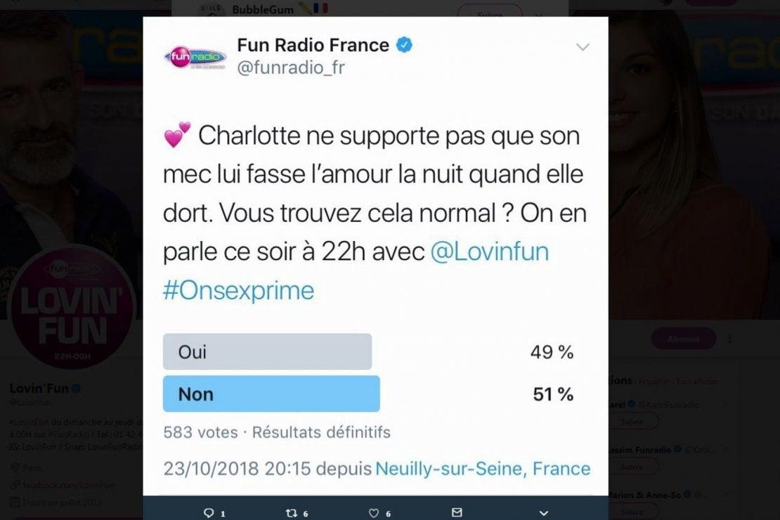 ''È normale fare l'amore con la propria compagna mentre dorme?'', in Francia un tweet divide il Paese