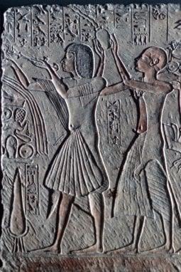 Geroglifici con raffigurazioni di plissé dall'Antico Egitto