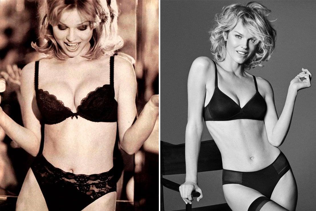A sinistra Eva Herzigova nella pubblicità del 1994 e, a destra, nel 2018