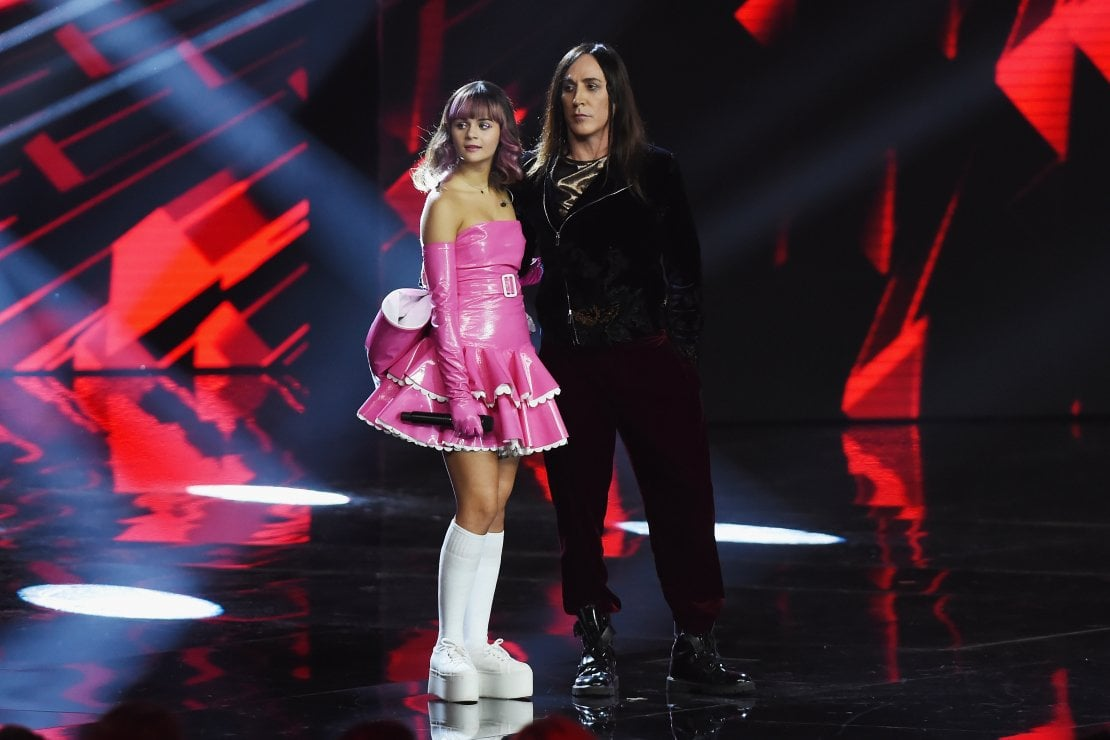 Martina Attili con Manuel Agnelli a X Factor