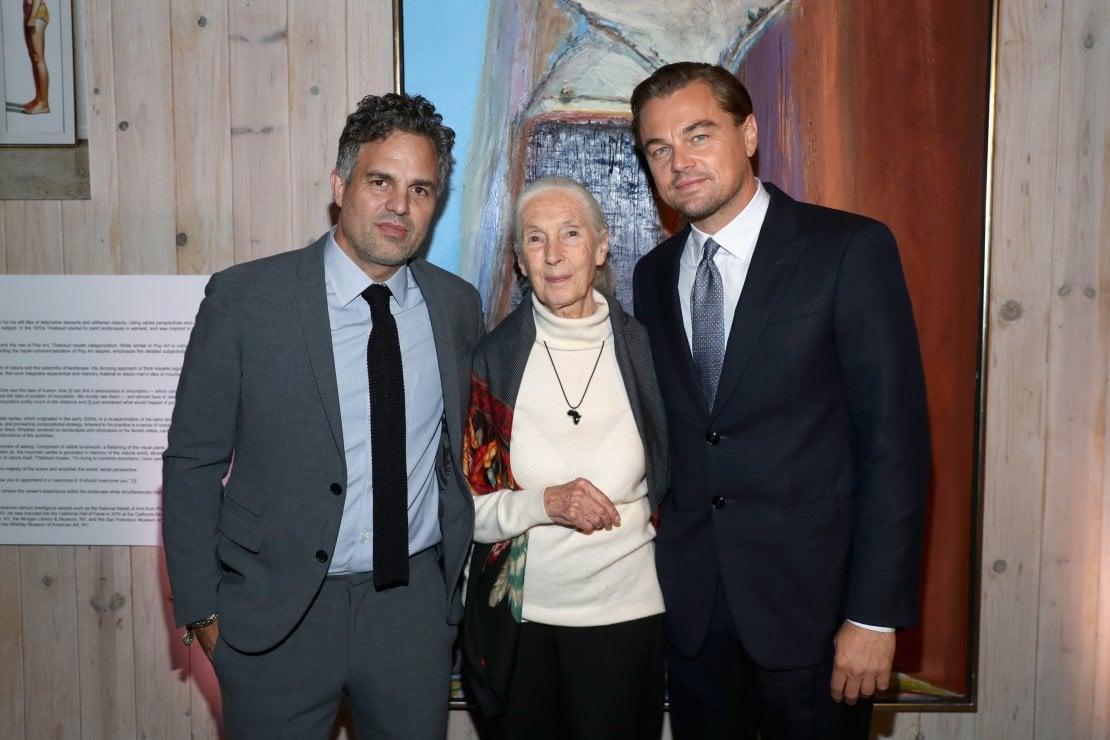 Mark Ruffalo Jane Goodall e Leonardo DiCaprio al Gala della Fondazione DiCaprio