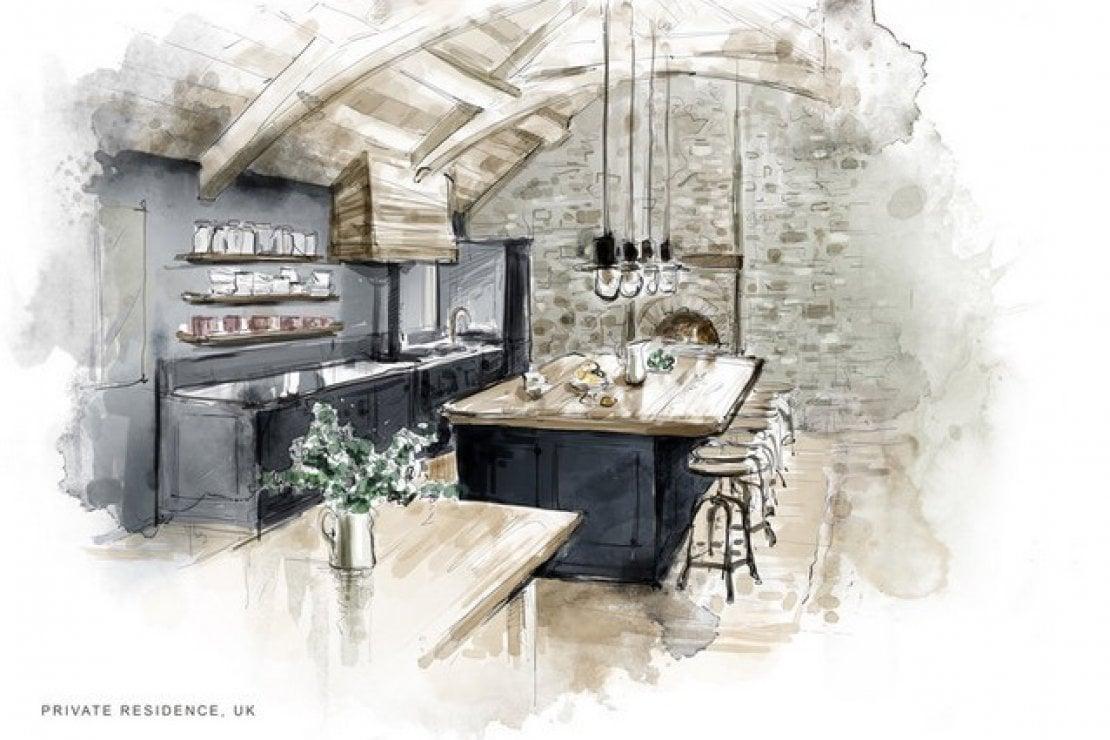 Uno dei progetti dello studio Charles & Co: forse la cucina di Harry e Meghan?