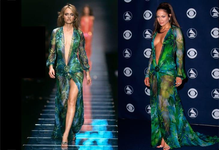 Amber Valletta nella sfilata di Versace primavera 2000 e Jennifer Lopez ai Grammy Award nel 2000