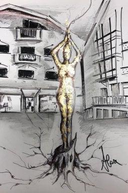 Un bozzetto della scultura di Alessandro Galanti
