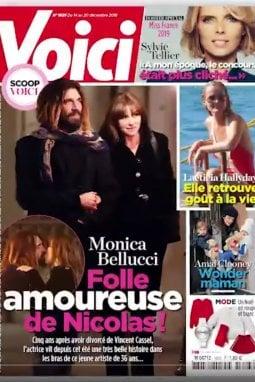 La copertina di Voici con lo scoop sul nuovo amore di Monica Bellucci