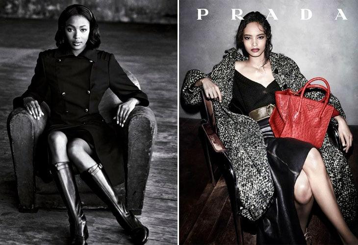 A sinistra Naomi Campbell nella campagna del 1994 scattata da Peter Lindbergh. A destra Malaika Firth nel 2013 nella campagna realizzata da Steven Meisel
