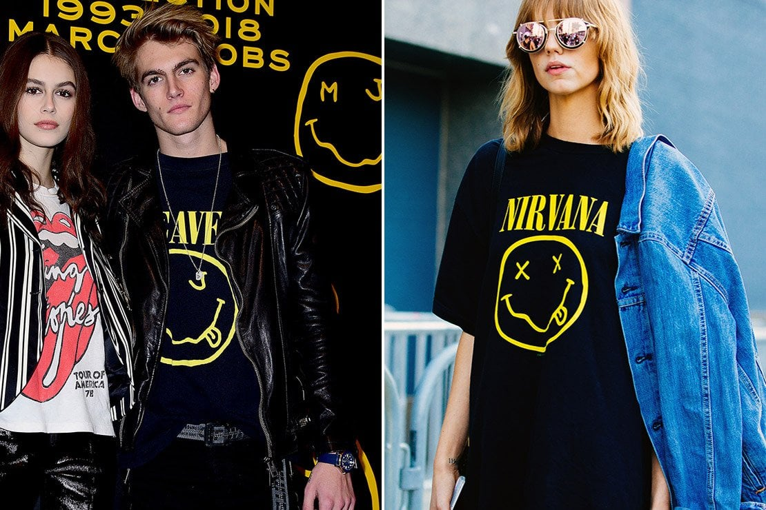 11f691e02175 A sinistra Kaia e Presley Gerber con la maglietta di Marc Jacobs. A destra  una