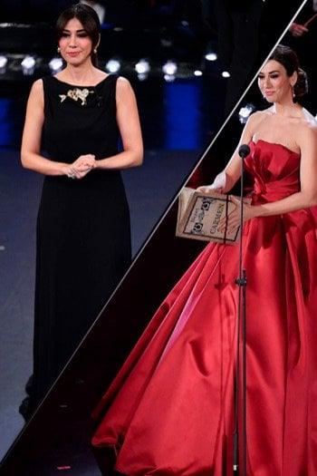 Gli abiti di Virginia Raffaele alla seconda serata di Sanremo: preferite il rosso o il nero?