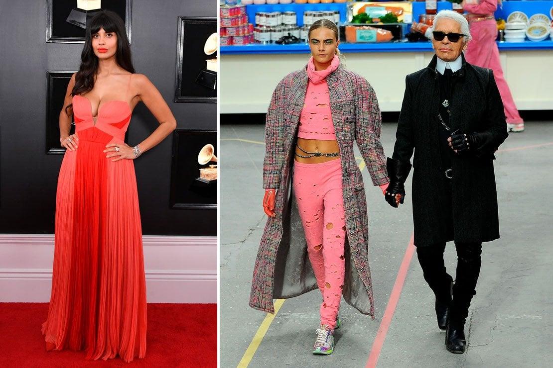 A sinistra Jameela Jamil, a destra Cara Delevingne e Karl Lagerfeld durante una sfilata di Chanel