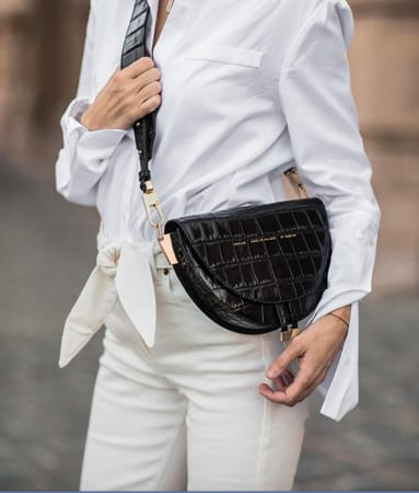 "Glossy Black Crocodile"" Saddle Bag"