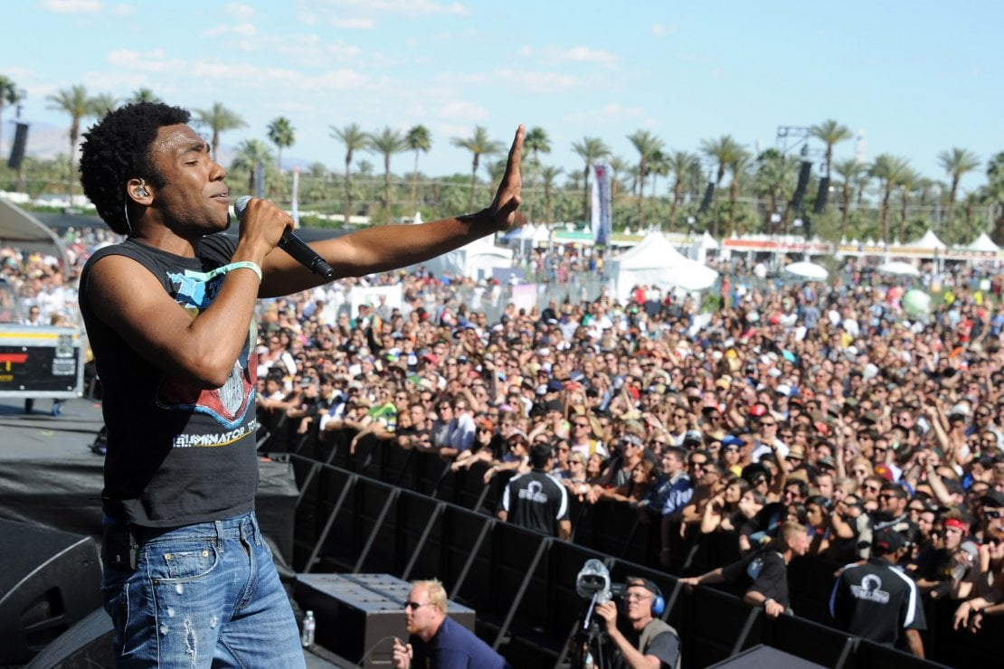 Il rapper e attore Donald Glover aka Childish Gambino durante la sua performance al Coachella Valley Music & Arts Festival 12 aprile 2019