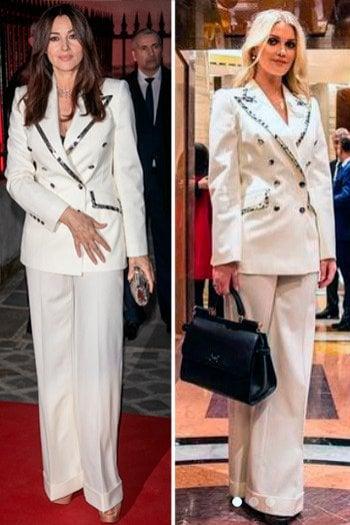 Kitty Spencer e Monica Bellucci con lo stesso tailleur: chi lo indossa meglio? Vota!