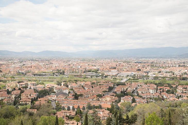 Veduta della città di Prato, primo distretto tessile d'Europa.