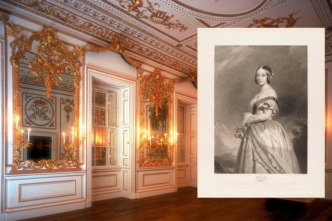 British Galleries al ©Victoria and Albert Museum, London e a sinistra un'incisione di François Forster del 1846 che ritrae la regina Vittoria con la coroncina