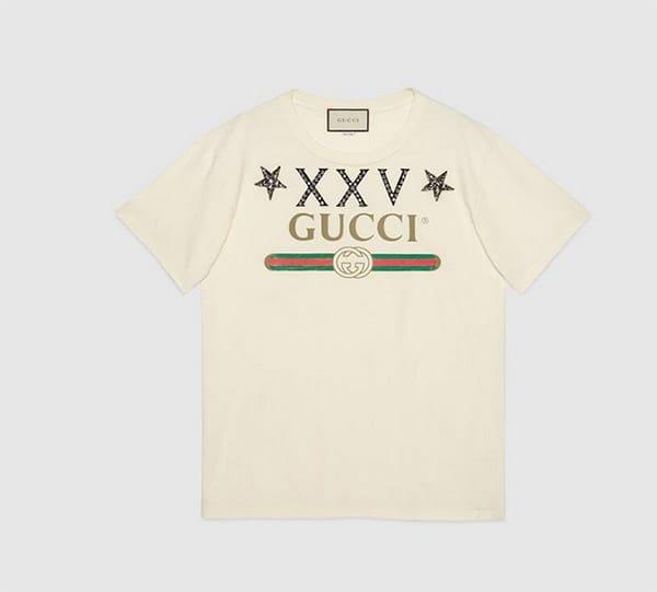 T shirt con numeri romani e logo, Gucci