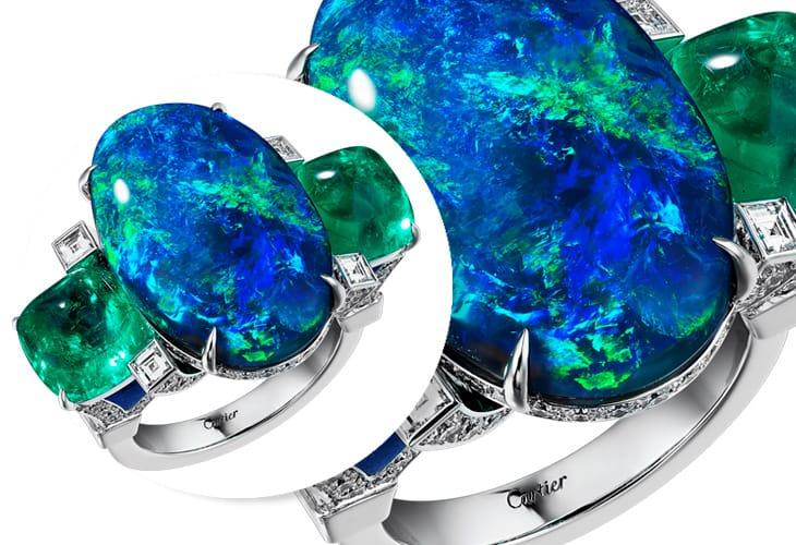 Anello in oro bianco, opale nero, smeraldi e diamanti. Alta Gioielleria Magnitude, Cartier