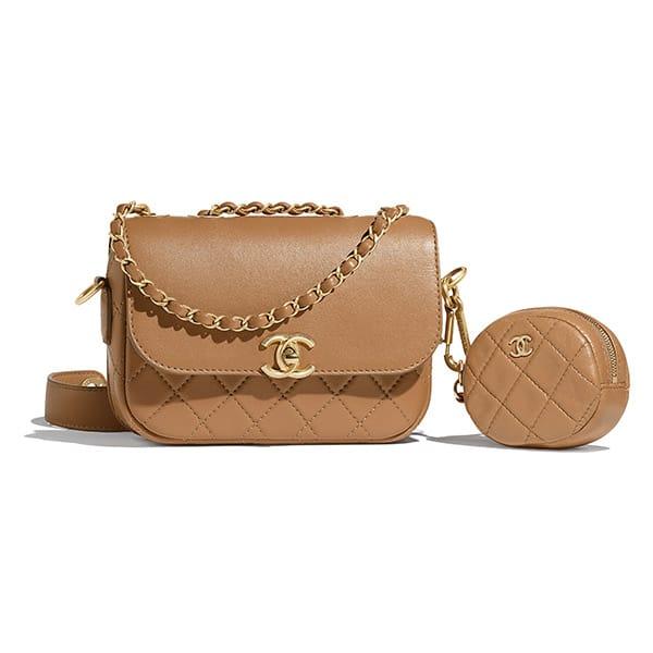 ChanelBorsa di pelle con mini bag attaccata