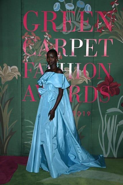 Green Carpet Fashion Awards Adut Akech in Valentino