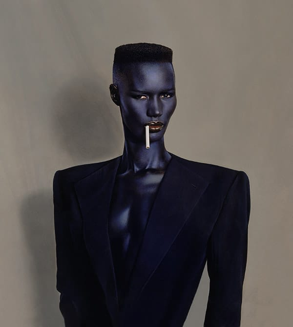 Jean-Paul Goude, Blue-black in black on brown.Foto dipinta,New York, 1981