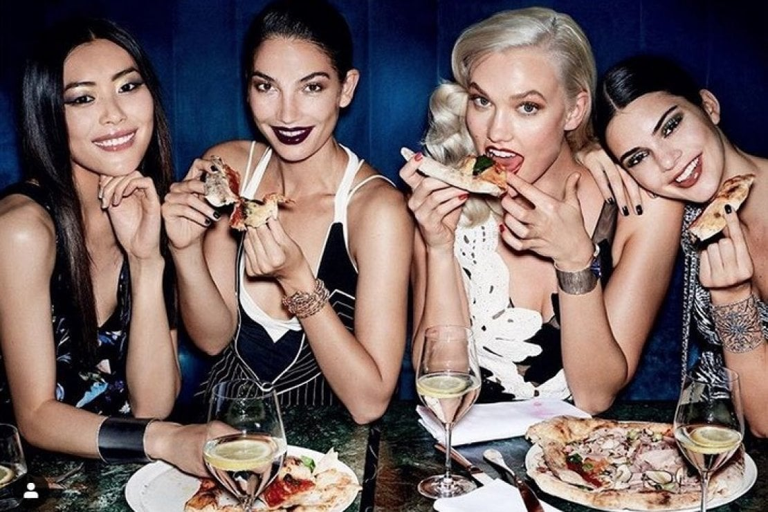 @karliekloss: Break me off a pizza that ?? @mariotestino for @voguemagazine
