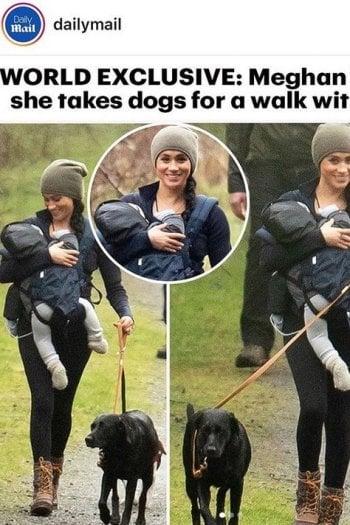 Meghan Markle: prima passeggiata in libertà con Baby Archie e i suoi cani