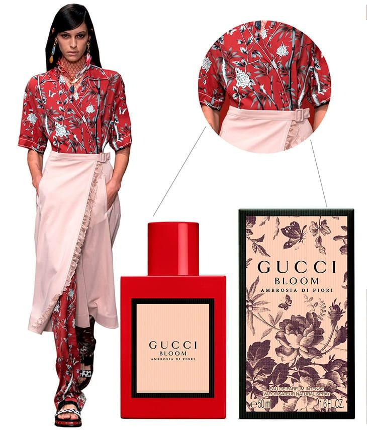 Da sinistra. Foto sfilata Ports - profumo Gucci Bloom Ambrosia di Fiori