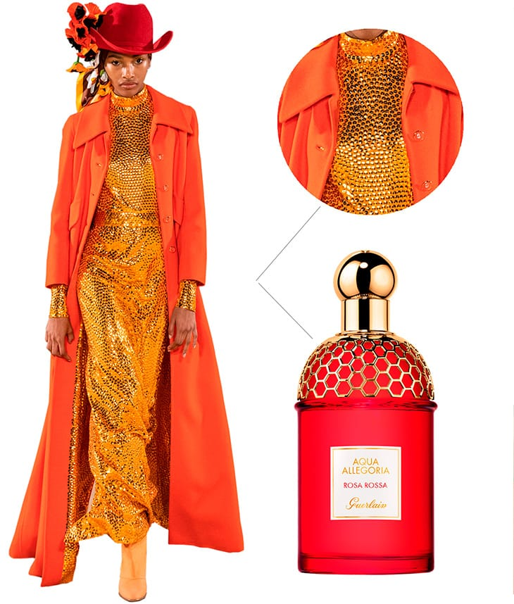 Da sinsitra. Sfilata Marc Jacobs - profumo Guerlain Rosa Rossa, Aqua Allegoria