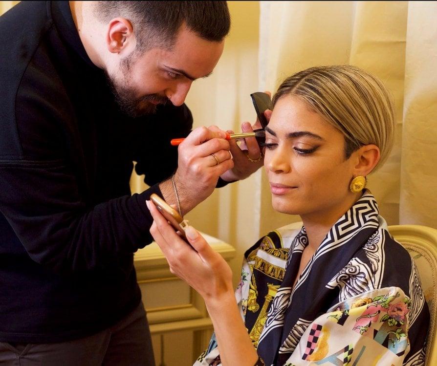 Elodie e il suo make up artist Daniele Lorusso, alias MrDanielMakeupFoto courtesy Lancôme