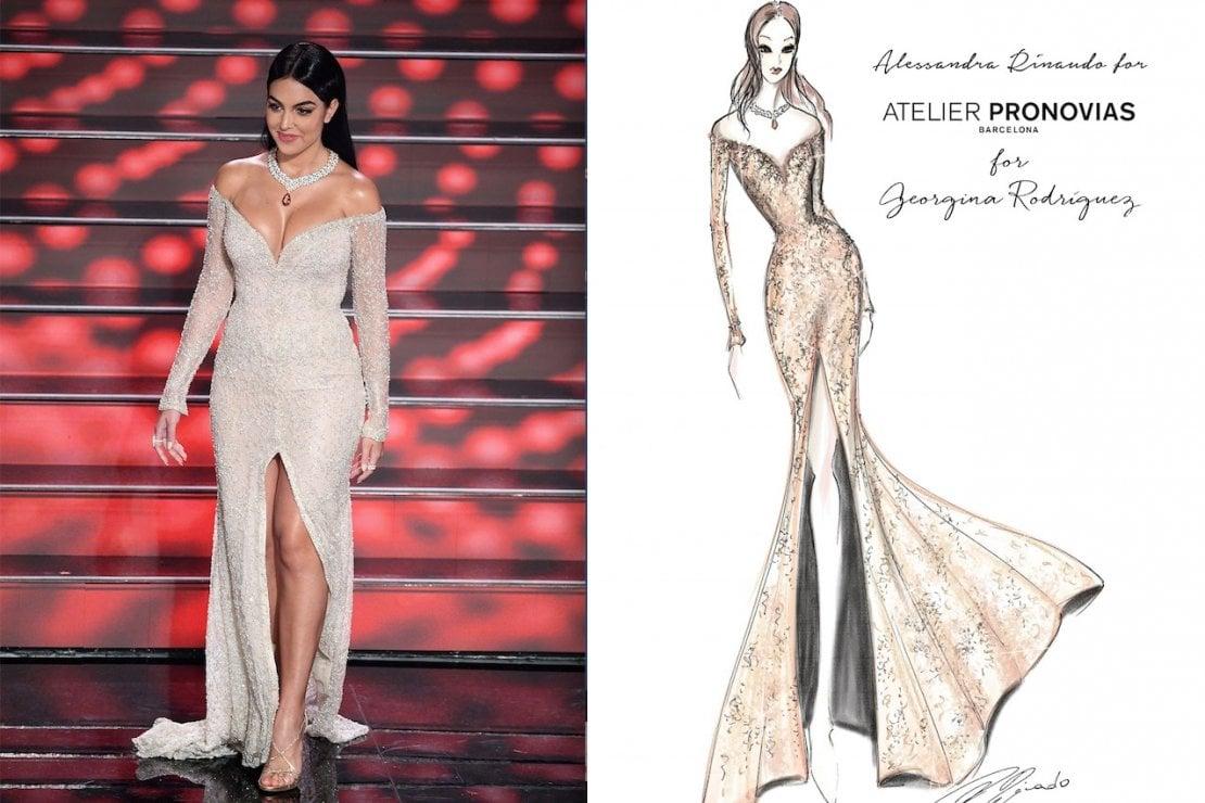 Georgina Rodriguez indossa una creazione realizzata  appositamente per  il palco dell'Ariston dalla Chief Artistic Director  Alessandra Rinaudo  per Atelier Pronovias