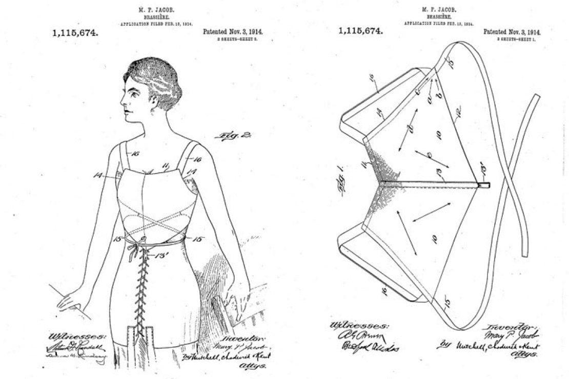 Le due immagini allegate alla richiesta di brevetto per il reggiseno presentata il 12 febbraio 1914 da Mary Phelps Jacob