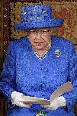 La regina all'apertura del Parlamento nel 2017 indossa un cappello che richiama, nel colore, la bandiera della UE: azzurra con stelle (in questo caso fiori) gialli. La sua personal dresser Angela Kelly dirà: è stato un caso