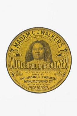 La scatola di Wonderful Hair Grower di Madam Walker, la crema-balsamo  che fece la sua fortuna, conservata allo Smithsonian  National Museum of African American History & Culture