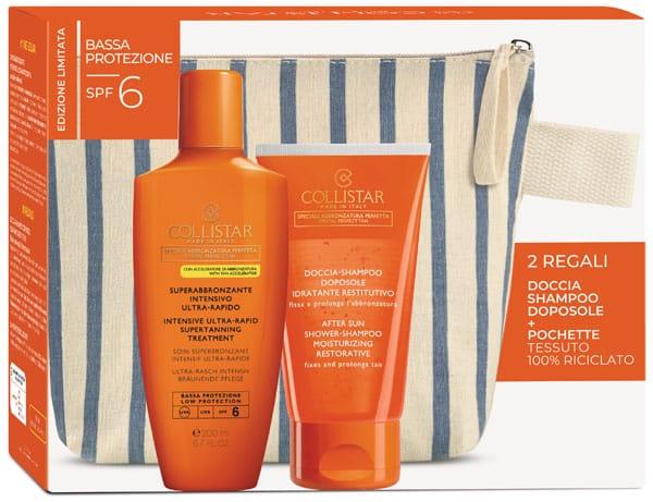 Kit completo: pochette, Super abbronzante intensivo Spf 6 e doccia shamppo, Collistar