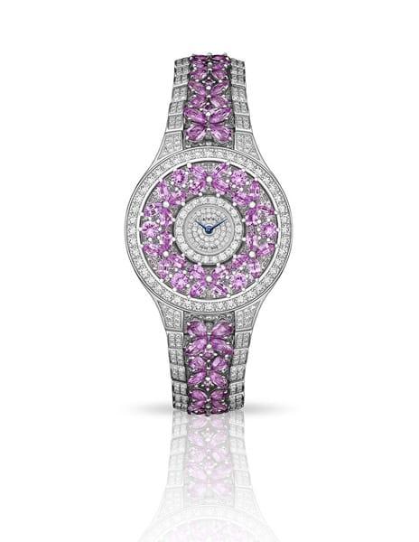 Orologio Graff 'Classic Butterfly' con zaffiri rosa e diamanti bianchi