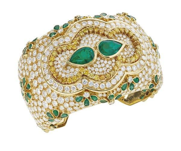 Bracciale a cuff Kutchinsky con smeraldi e diamanti gialli