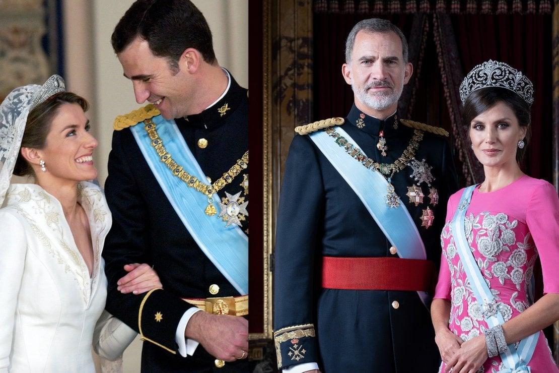 Felipe e Letizia ieri (2004) e oggi (2020)