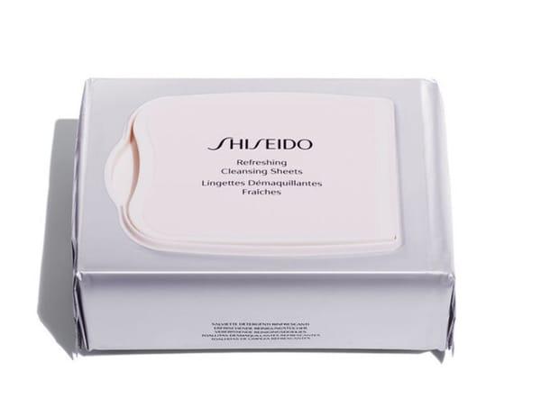 Salviettine ultra morbide, 100% cotone, che preservano l'idratazione naturale della pelle, eliminano il makeup, le impurità e il sebo in eccesso causa di imperfezioni, Refreshing Cleasing Sheets, Shiseido