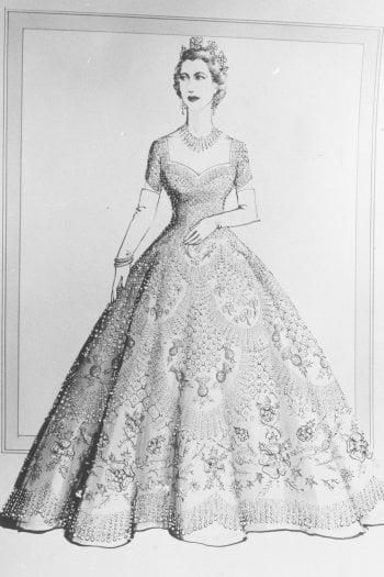 Il disegno di Norman Hartnell per l'abito della regina