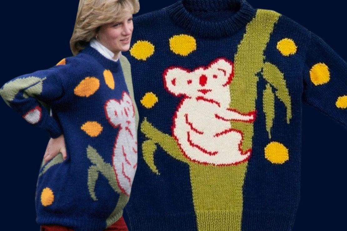 Lady Diana: la strana storia di quel maglione con koala che indossava quando era incinta di William