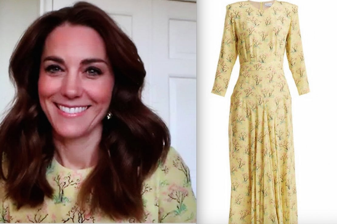 Kate indossa un abito Raey. Foto @kensingtonroyal e @matchesfashion.com