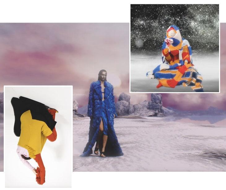 In basso a sinistra, la collezione upcycled ReM'Ade by Marques'Almeida; al centro, un frame della sfilata virtuale di Angel Chen all'ultima Shanghai Fashion Week, il tema è la rinascita nella città del futuro; sopra, un frame del video di Ka Wa Key, brand di maglieria di base a East London.