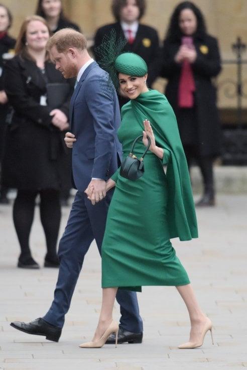 9 marzo 2020: il giorno che segna l'addio ufficiale di Meghan ed Harry ai doveri da senior royals. Qui, nell'ultimo impegno cui attendere assieme alla famiglia reale, il Commonwealth Day Service 2020 a Westminster Abbey