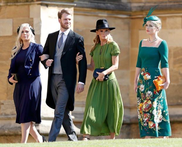 Da sinistra Lady Eliza Spencer, Louis Spencer (visconte Althorp), la madre Victoria Lockwood e Lady Kitty Spencer al matrimonio del principe Harry con Meghan Markle, il 19 maggio 2018 nel Castello di Windsor, Inghilterra.