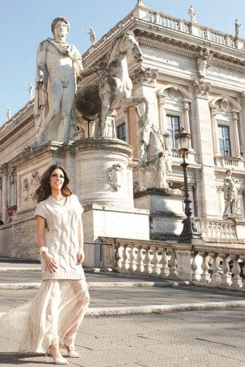 Lavinia Biagiotti, presidente e ad di Laura Biagiotti, fotografata sulla Scala Cordonata del Campidoglio a Roma