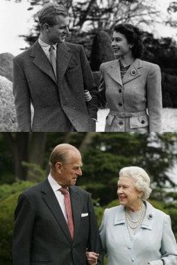 Il principe Filippo e la regina Elisabetta II sopra, nel 1947, e sotto, nel 2007